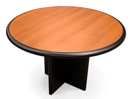 Mesa lustrada redonda con bordes negros